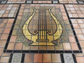 Tile-floor-harp north entrance